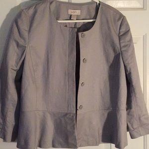 NWT LOFT Light Gray Linen-Blend Jacket/Blazer